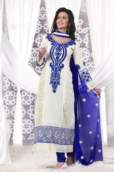 #Cream Colored #Anarkali Suit Check out this page now :-http://www.ethnicwholesaler.com/salwar-kameez/designer-salwar-kameez