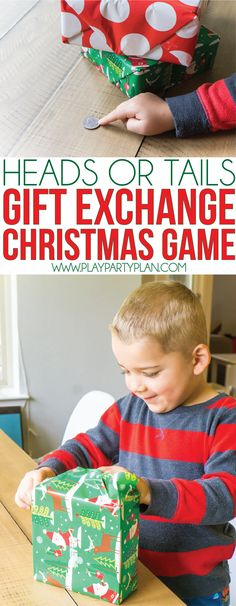 Change up your gift exchange tradition with this fun white elephant Christmas party game! Instead of just choosing to steal or unwrap, the flip of a coin chooses for you. One of our favorite Christmas party games for adults, for large groups, for kids, and more! It's funny to see what everyone ends up with!