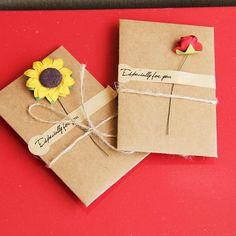 4 set /lot  DIY Retro Flowers Handmade Envelope Kraft Paper Postcard  blessings combination Birthday Cards krean statinery 1657