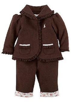 NEW Baby Girl Ralph Lauren FLEECE 2 pc Outfit Hoodie Brown Pink White 3 or 6 mo.