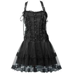 Gothic lolita mini-dress black denim by Aderlass ($125) ❤ liked on Polyvore featuring dresses, flower dress, strappy dress, mini dress, gothic lolita dress and short denim dress