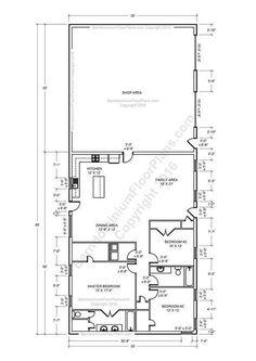 2 bedroom 2 bath Barndominium Floor plan for 30 foot wide building on