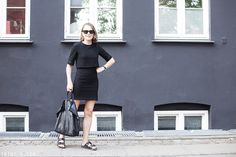 Trini | The Kooples black dress - Birkenstock Arizona sandals - Céline black Cabas bag