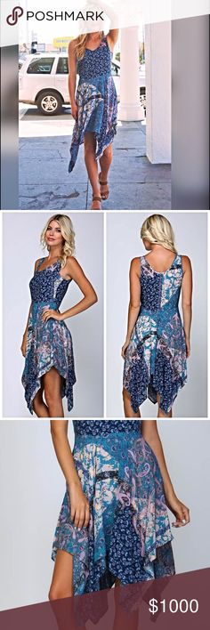 """! Waterfall fit n flare dress!  LAST ONE!! • Boho style print blocked woven dress • Fitted tank top with a waterfall style flared skirt • All over contrasting print • Zipper at side seam for easy entry • 100% rayon • Model is 5` 10"""" 34B-24-34 and wearing a small Dresses"""