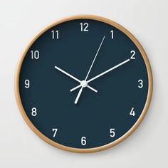 Numbers Clock - Storm Wall Clock by colorandpatterns Office Wall Clock, Led Wall Clock, Diy Clock, Wall Clock Numbers, Minimalist Wall Clocks, Navy Blue Decor, Charcoal Walls, Navy Walls, Cool Clocks