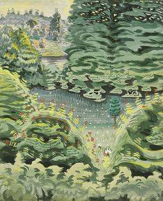 Charles E. Burchfield, In a Green Dale, 1917 Watercolor Landscape, Landscape Paintings, Landscapes, Over The River, High Art, Green Trees, Nature Scenes, Art Auction, American Artists
