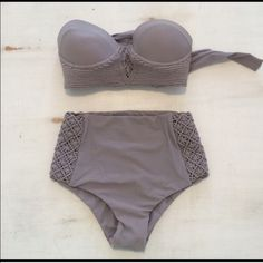 Tori Praver  Tolido Bikini size small Adorable high waisted Bikini with macrame detail. Reposhing, purchased this suit and wore it once but didn't care for the fit on my body, some slight wrinkling on the top, unnoticeable when worn. I paid $120 via poshmark and would like to get at least $100 or a comparable trade.  Tori Praver Swimwear Swim Bikinis