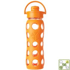 22 Oz Flip Top Orange LifeFactory Reusable Glass Bottles $23