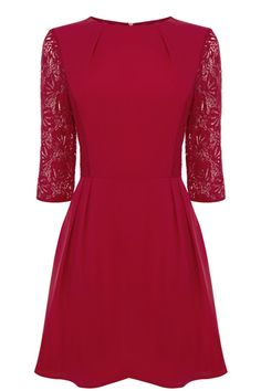 Designer Clothes, Shoes & Bags for Women Midi Skater Dress, Lace Dress With Sleeves, Pinterest Fashion, Fashion Today, Party Dress, Clothes For Women, Oasis, Red Lace, Envy