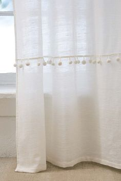 Shop Averi Pompom Gauze Window Curtain at Urban Outfitters today. Beachy Curtains, Rustic Curtains, Linen Curtains, White Curtains, Window Curtains, Bohemian Curtains, Room Window, Bohemian Decor, Sheer Curtain Panels
