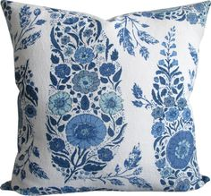 Kashmir In Delft Pillow Cover-High End Designer Decorative Pillow Cover-Floral Block Print Blue-Accent Pillow-Single Sided Blue Pillow Covers, Pillow Cover Design, Blue Pillows, Decorative Pillow Covers, Accent Pillows, Throw Pillows, Bathroom Design Inspiration, Blue Accents, Designer Pillow