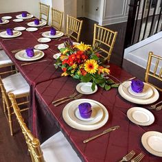 Red pintuck with gold chiavari chairs for an at-home Thanksgiving feast!