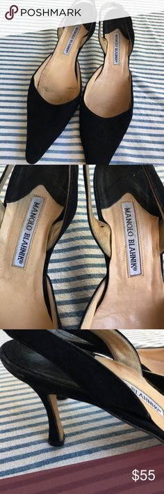 Manolo  Blahnik  sling backs Black. Lovely shoes. Very classy/classic. These have been used. The footbed  isn't  perfect, see pics. Still loads of wear left. A good shoe lasts forever and never goes out of style Manolo Blahnik Shoes Heels