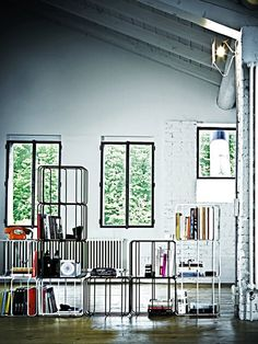 bookcase from steel elements