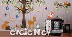 Nursery Wall Sticker - Forest Animals Friend Wall Art - Fox, Deer, Bear, Raccoon, Owls Wall Decals - PLFR050