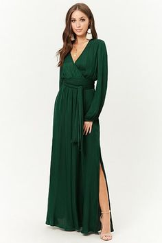 Product Name:Belted Surplice Maxi Dress, Category:dress, Summer Dresses With Sleeves, Long Summer Dresses, Green Long Sleeve Dress, Long Sleeve Maxi, Hunter Green Dresses, Emerald Green Dresses, Satin Vert, Dress Outfits, Casual Dresses