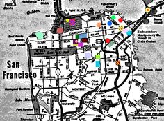 Map of where cemeteries were in San Francisco -- they are there no longer. Home Board, Maps, San Francisco, Blue Prints, Map, Cards