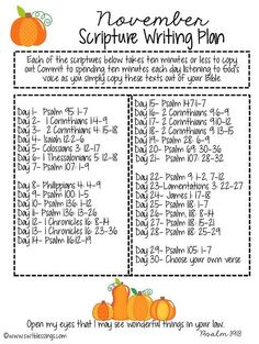 Scripture Writing November Scripture Writing Plan from Sweet BlessingsNovember Scripture Writing Plan from Sweet Blessings Bible Study Notebook, Bible Study Plans, Bible Plan, Bible Study Journal, Prayer Journals, Scripture Journal, Prayer Book, Art Journaling, Scripture Reading