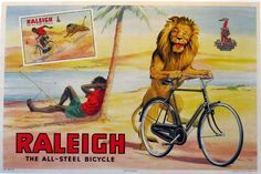 Raleigh, lion with bike. the all steel bike