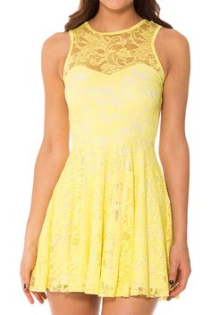 Lemon Lace Skater Dress - LIMITED › Black Milk Clothing