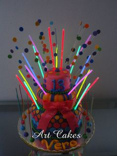 "Disco Birthday Cake with ""Glow in the Dark"" Strips by Art Cakes, via Flickr"