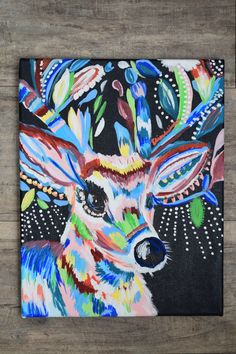 Abstract Deer hand painted by Elise Winter Size 11 X 14 Canvas