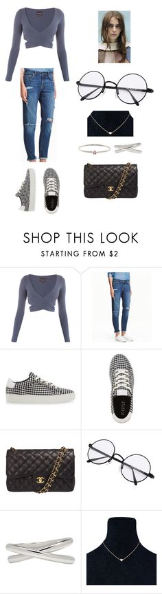 """Romy Schonberger"" by dakotahaileetayloradele ❤ liked on Polyvore featuring H&M, Claudie Pierlot, Chanel, Maison Margiela, Re-Edition, Jennifer Meyer Jewelry and RomySchonberger"