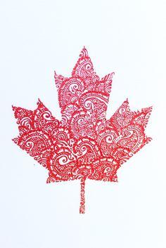 Henna Maple Leaf-Canadian flag-Henna crafts-Henna on canvas