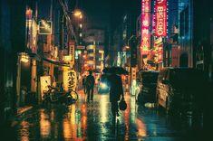 Noche de lluvia, en Japón, por Masashi Wakui
