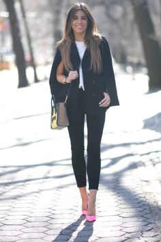 Pairing bright pink heels with classic black jeans is genius! Brooke looks ultra glam in this simplistic yet striking outfit consisting of jeans, a plain white tee, and a cropped overcoat. Heels: Bergdorf Goodman, Jeans: Shopbop.