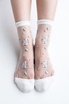 Women Brand New Hezwagarcia Floral Pattern White Nylon Sheer See Through Ankle Wedding Socks Hosiery