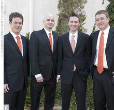 Groomsmen with coral ties..