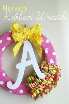 DIY Nursery Ribbon Wreath - This is an easy home decor project for the nursery that can be modified for either a baby girl or a baby boy.