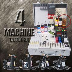 4 Black Tattoo Machine Kit