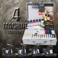 4 Black Tattoo Machine Kit
