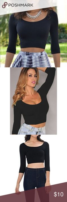 Black Scoop Neck 3/4 Sleeve Crop Top Like new. No trades. Price is firm. Listed as fashion nova for exposure only. Fashion Nova Tops Crop Tops