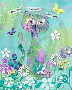 Cat art print flowers garden 8 by 10 blues by CecilBayCollage, $5.00