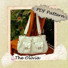 Olivia Bag PDF Sewing Purse Pattern - A handmade purse, handbag, hobo bag or nappy bag. $10.95, via Etsy.