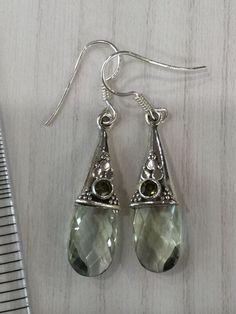 Colorz Of Earth: #Prasiolite (#GreenAmethyst) & #Peridot Gemstone Earrings in 925 #Sterling Silver #ColorzOfEarth