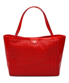 Poppy Red Erica Leather Tote