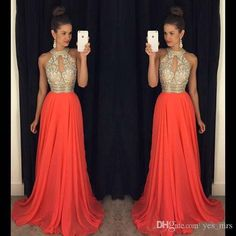 2016 Cheap Prom Dresses Jewel Keyhole Neck Illusion Long Orange Chiffon Crystal Beaded Bling Sweep Train Plus Size Evening Dress Party Gowns Online with $129.65/Piece on Yes_mrs's Store | DHgate.com