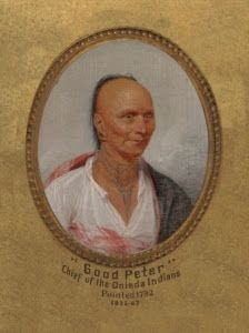 """1793, detail of John Trumbull, American, 1756–1843 """"Good Peter,"""" Chief of the Oneida Indians http://artgallery.yale.edu/collections/objects/good-peter-chief-oneida-indians-ca-1717-1793#sthash.qwn9GibM.dpuf"""