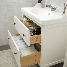 HEMNES / RÄTTVIKEN Bathroom furniture, set of white, Runskär faucet. Smooth-running and soft-closing drawers with pull-out stop. You can easily see and reach your things because the drawers pull out fully. Tiny House Bathroom, Master Bathroom, Bathroom Wall, Small Bathroom Floor Plans, Ikea Bathroom Vanity, Small Attic Bathroom, Tiny Bathrooms, Bathroom Black, Modern Bathroom