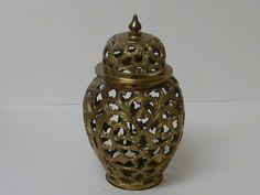 Vintage Brass Ginger Jar Solid Brass Filigree by labaublesandbags, $35.00