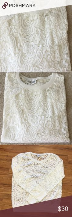 🌿Lovely Lace Top🌿 NWOT Never worn. Beautiful lace top with long sleeves. Sheer lace.  88% Nylon & 12% Spandex.  In perfect condition 🦋 Sans Souci Tops
