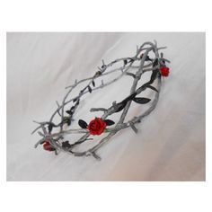 Barbed Wire Crown of Thorns Silver Black Leaves Red Rose Goth Industri ❤ liked on Polyvore featuring accessories and hair accessories