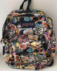JanSport-Superbreak-Kitty-Multi-Hairball-Book-Bag-Backpack-Dog-Cat-Tiger-Rainbow