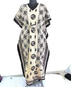 Cotton Regular Size Maxi Hand Block Printed Nightwear Women Wear Kaftan