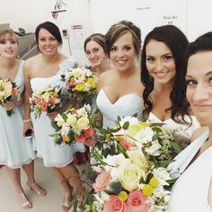 My beautiful bride and her bridal party May 2105... #peonies #gardenroses #roses #craspedia   #bridal #florist #flowers