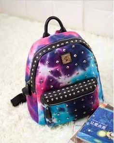 of Fashion Rivet Starry Sky Color Backpack Colorful Backpacks, Cute Backpacks, Girl Backpacks, Leather Backpacks, My Bags, Purses And Bags, Fashion Bags, Fashion Backpack, Space Fashion